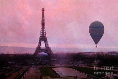 Hot Air Balloon Photograph - Paris Pink Eiffel Tower With Hot Air Balloon - Paris Eiffel Tower Pink Sky And Balloon Fine Art by Kathy Fornal