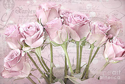 French Script Photograph - Paris Pink Roses Impressionistic French Pink Roses   - Romantic Shabby Chic Pink Roses French Decor by Kathy Fornal