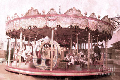 Surreal Paris Decor Photograph - Paris Pink Merry-go-round - Dreamy Paris Pink Carousel Horses - Paris Merry-go-round Carousel Art  by Kathy Fornal