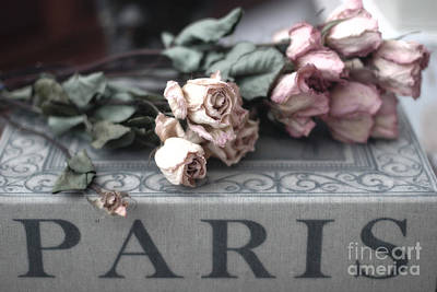 In Memory Of Photograph - Paris Pink Roses On Book  - Dreamy Romantic Paris Books And Roses - Memories Of Paris by Kathy Fornal