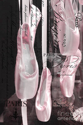 Couture Photograph - Paris Ballerina Pointe Shoes - Paris Ballet Pink Satin Dance Pointe Shoes Print - Paris Ballet Art by Kathy Fornal