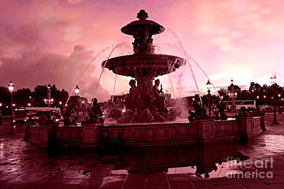 Photograph - Paris Place De La Concorde Fountain - Paris Dreamy Surreal Pink Night Place De La Concorde  by Kathy Fornal