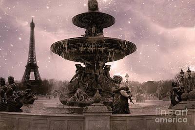 Paris Place De La Concorde Fountain Square - Paris Pink Place De La Concorde Fountain Starry Night Art Print by Kathy Fornal