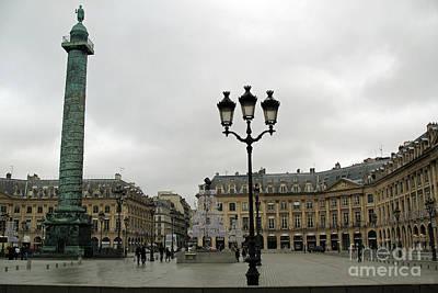 Fantasy Paris Photograph - Paris Place Vendome Architecture Monuments Street Lamps And Buildings  by Kathy Fornal