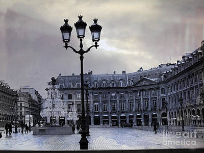 Paris Place Vendome Blue Street Lanterns Lamps And Architecture - Paris Dreamy Blue Photos Print by Kathy Fornal