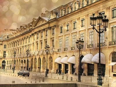 Fantasy Paris Photograph - Paris Place Vendome Hotel Chaumet Architecture - Paris Hotel Street Lanterns - Paris Black And Gold  by Kathy Fornal