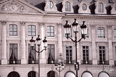 Pink And Black Photograph - Paris Place Vendome Pink And Black Architecture - Paris Pink Black Street Lanterns Architecture  by Kathy Fornal