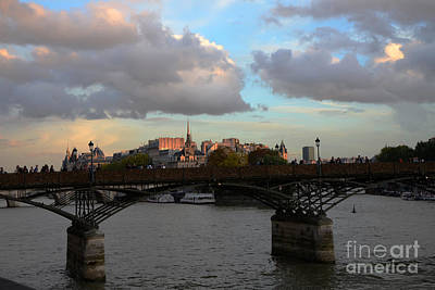 Paris Pont Des Art Bridge - Seine River Romantic Bridge - Love Locks  Art Print