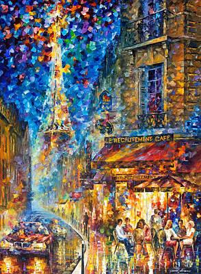 Paris Recruitment Cafe 2 - Palette Knife Oil Painting On Canvas By Leonid Afremov Original by Leonid Afremov