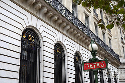 French Signs Photograph - Paris Red Black Metro Sign - Paris Ornate Art Nouveau Red Metro Sign Architecture by Kathy Fornal
