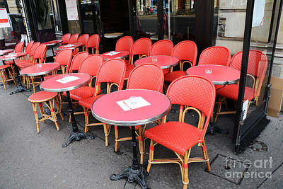 Photograph - Paris Red Cafe Chairs - Paris Chaise Rouges Sidewalk Cafe -  Paris Cafe Red Chairs Red Tables by Kathy Fornal