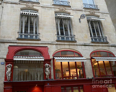Photograph - Paris Red Cafe Photo - Paris Sidewalk Cafe Architecture - Paris Red Cafes Pubs - Paris Art Nouveau  by Kathy Fornal