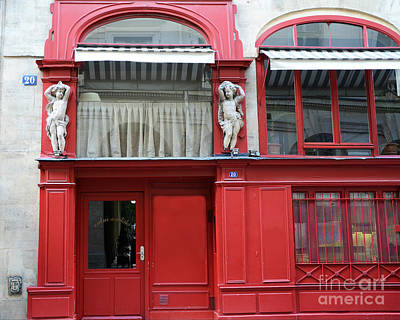 Photograph - Paris Red Door Photography - Paris Red Cafe - Red And White Architecture Art Nouveau Art Deco  by Kathy Fornal
