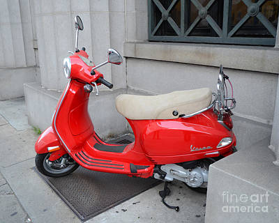 Photograph - Paris Red Vespa Auto Scooter - French Red Vespa - Cherry Red Parisian Vespa by Kathy Fornal