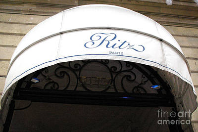 Paris By Kathy Fornal Photograph - Paris Ritz Hotel White And Blue Canopy - Paris Ritz Hotel Architecture by Kathy Fornal