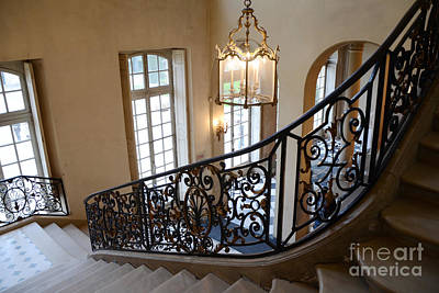 Staircase Photograph - Paris Rodin Museum Staircase - Rodin Museum Entry Staircase Chandelier Architecture - Musee Rodin by Kathy Fornal
