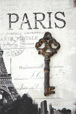French Script Photograph - Paris Vintage Key Art - Paris Black And White Vintage Key Decor - Paris Books Skeleton Key  by Kathy Fornal