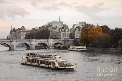 Paris Bridges Cruise Ship - Paris River Seine Boat - Paris Autumn River Seine - Autumn In Paris Art Print