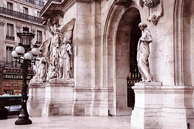Photograph - Paris Romantic Opera House Statues - Paris Dreamy Pink Opera Des Garnier Architecture And Lanterns by Kathy Fornal
