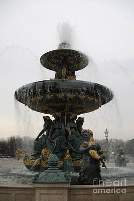 Paris Romantic Sculpture Fountain - Place De La Concorde Fountain Square Art Print