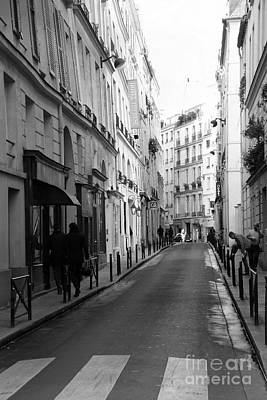 Rue Photograph - Paris Rue St. Honore Street Art Deco - Paris Black And White Street Architecture by Kathy Fornal