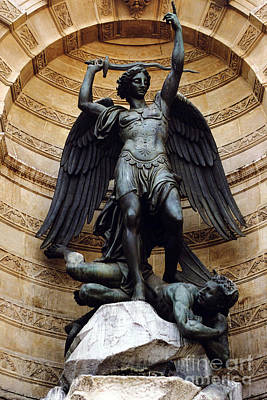 Paris Saint Michael Archangel Statue Monument - St. Michael Fountain Square Art Print by Kathy Fornal