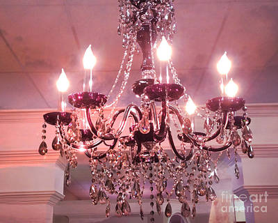 Paris Shabby Chic Dreamy Pink Sparkling Cyrstal Chandelier - Crystal Chandelier Sparkling Lights  Art Print by Kathy Fornal