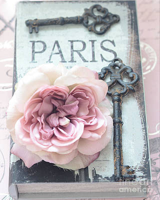 Paris Vintage Books Roses Key Art - Paris French Key Art - French Key Roses Decor Art Print by Kathy Fornal