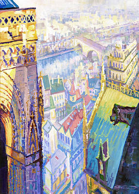 Panorama Painting - Paris Shadow Notre Dame De Paris by Yuriy Shevchuk