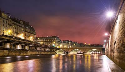 Photograph - Paris Siene River At Night by Radoslav Nedelchev