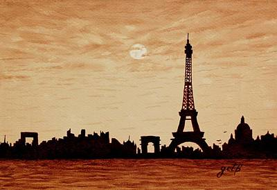 Paris Skyline Paintings - Paris Silhouettes under Moonlight coffee painting by Georgeta  Blanaru