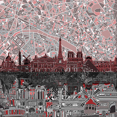 Painting - Paris Skyline Abstract 2 by Bekim Art