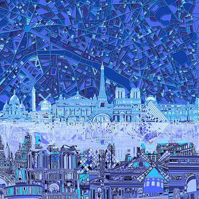 Painting - Paris Skyline Abstract Blue 2 by Bekim Art