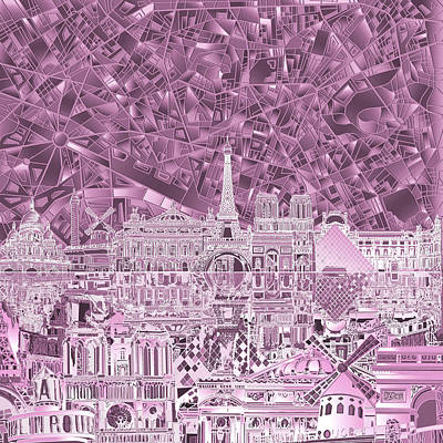 Painting - Paris Skyline Abstract Purple by Bekim Art