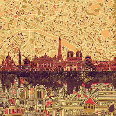 Painting - Paris Skyline Abstract Sepia by Bekim Art