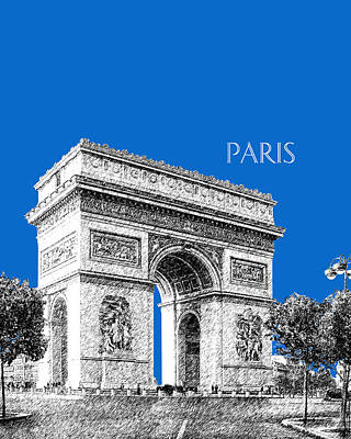 Paris Skyline Digital Art - Paris Skyline Arc De Triomphe - Blue by DB Artist