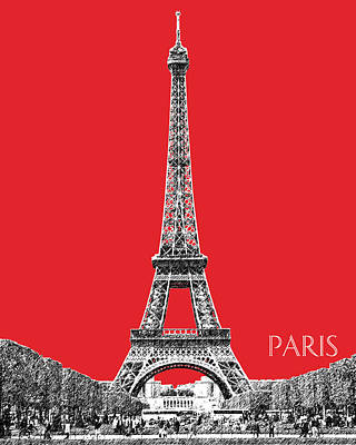 Paris Skyline Eiffel Tower - Red Art Print by DB Artist