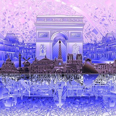 Painting - Paris Skyline Landmarks 7 by Bekim Art