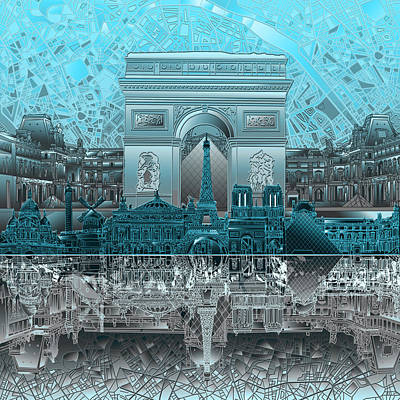 Notre Dame Paris Painting - Paris Skyline Landmarks by Bekim Art