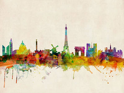 Urban Watercolor Digital Art - Paris Skyline by Michael Tompsett