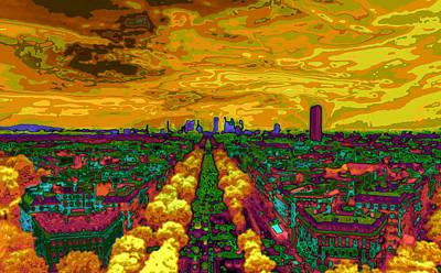 Paris Skyline Pop Art Art Print by Eti Reid