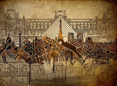 Painting - Paris Skyline Vintage 2 by Bekim Art