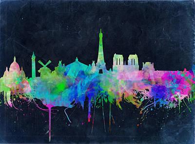 Paris Skyline Watercolor 2 Art Print