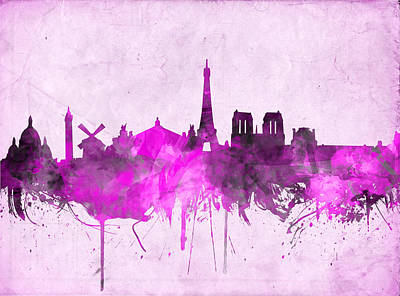 Painting - Paris Skyline Watercolor Purple by Bekim Art