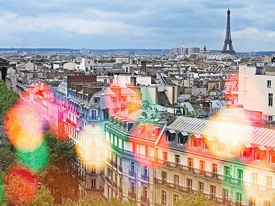 Photograph - Paris Skyline With Balloon Lights by Heidi Hermes