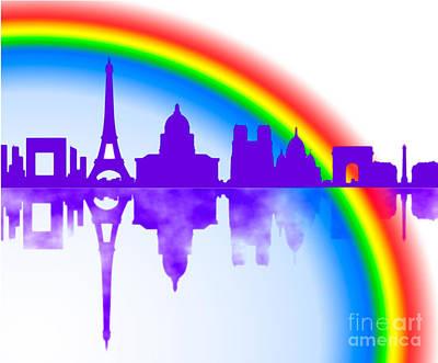 Paris Skyline Royalty-Free and Rights-Managed Images - Paris skyline with Rainbow by Algirdas Lukas