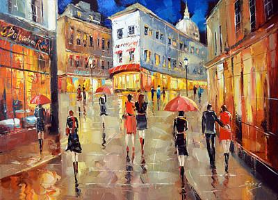 Paris Street. Evening Art Print