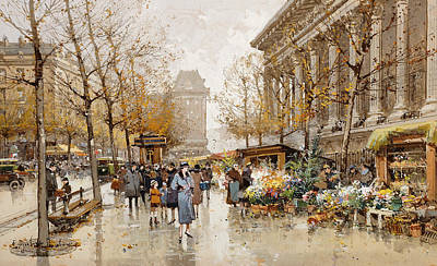 Cobblestone Painting - Paris Street In Autumn by Eugene Galien-Laloue