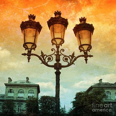 Luminaire Photograph - Paris Street Lamps With Textures And Colors by Carol Groenen