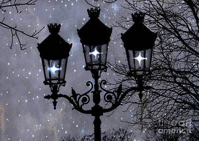 Photograph - Paris Street Lights Lanterns - Paris Starry Night Dreamy Surreal Starlit Night Street Lamps Of Paris by Kathy Fornal